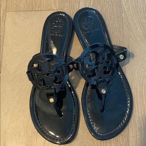 Tory Burch Miller Sandal Black Patent Leather